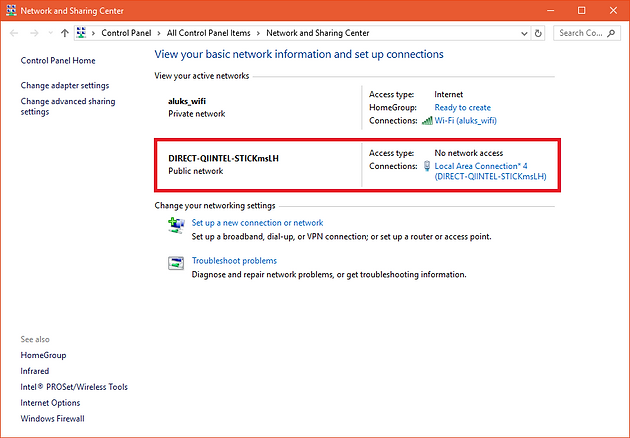 """Using """"Projecting to this PC"""" (Miracast) feature in Windows 10"""