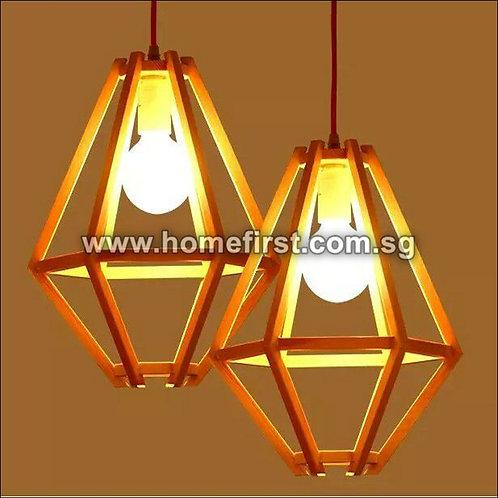 Hexagonal Wooden LED Pendant Lamp ~ PL-MD033