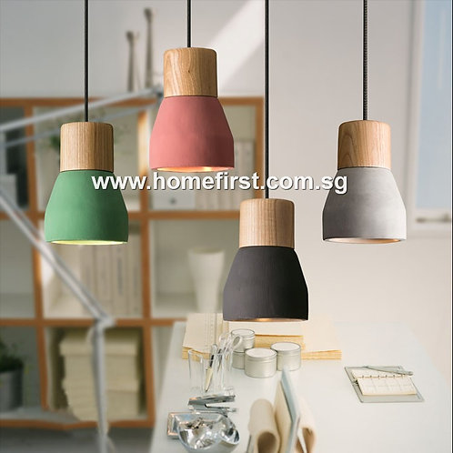 Cement Pendant Lamp~ PL-FL002-Grey / Green / Red