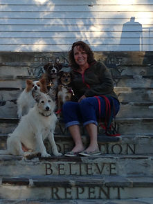 Becky Rene and the pack in Maine