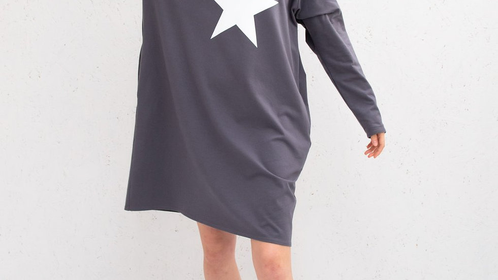 Brody Dress (Charcoal, with White star)