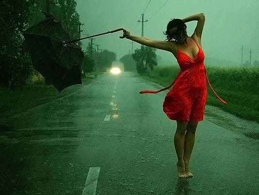 Woman in th rain