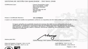 Certificação ISO 9001:2008 - Auditoria de out/2017