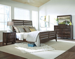 Rake Bed, Black Mountain Bureau with Track Mirror & Nightstand