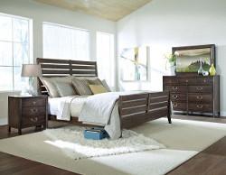 Rake Bed, Black Mountain Bureau with Track Mirror & Nightstand