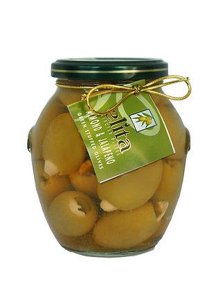 """Зеленые оливки фаршированные миндалем & халапеньо  395мл ст/б """"ELITA"""" (Греция)"""