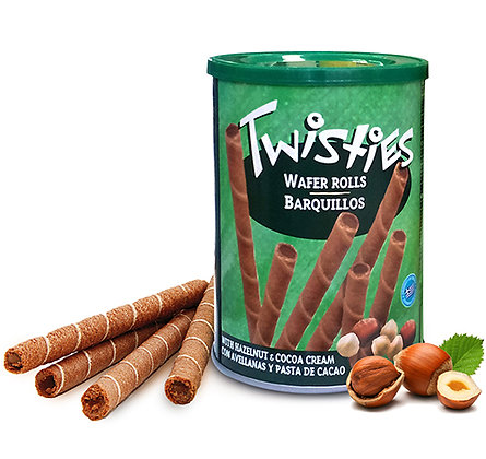 "Вафли с кремом из лесного ореха и какао ""TWISTIES"" ж/б 400г (Греция)"
