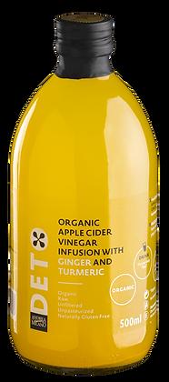 Уксус яблочный organic  натуральный  с имбирем и куркумой  нефильтрованный