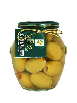 Зеленые оливки фаршированные  чесноком & натуральный красный перец  395 мл