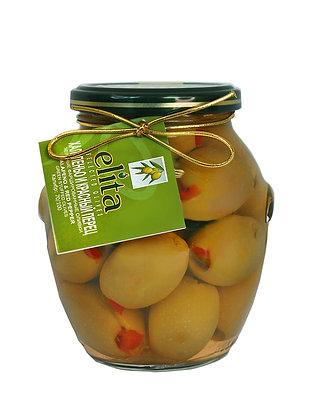 Зеленые оливки  фаршированные натуральным красным перцем &  халапеньо 395мл ст/б
