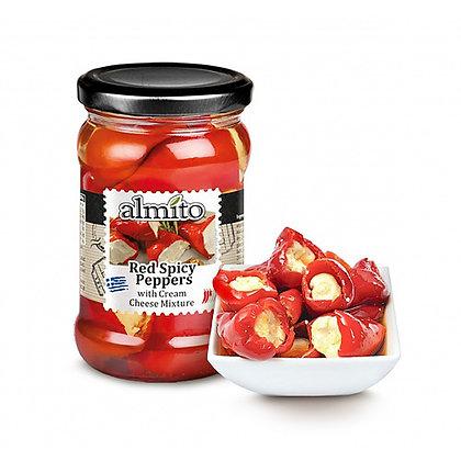 Красные  острые перчики с сыром ALMITO 320мл