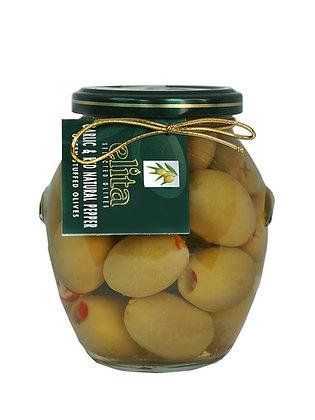 """Оливки  фаршированные  чесноком & натуральным красным  перцем  """"ELITA"""" 395 мл"""