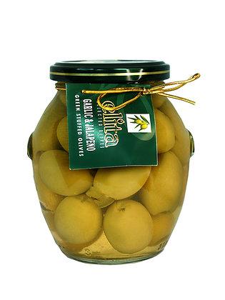 Зеленые оливки фаршированные  чесноком & халапеньо 395 мл