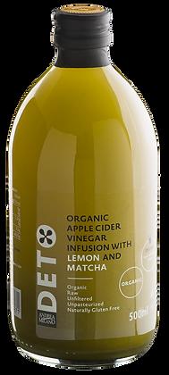 """Яблочный  уксус  с  чаем  матча  и  лимоном органик  BIO 500 ml """"DETO"""""""