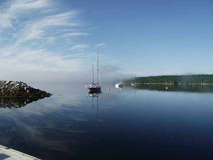 Sail boats moored on Shelburne Habour