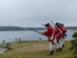 Loyalist Militia re-enactors on Shelburne Harbour waterfront