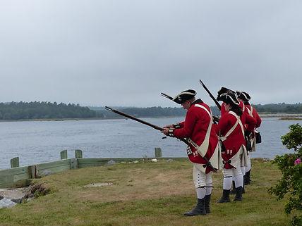 Loyalist Militia re-enactors on Shelburne Harbour waterfront