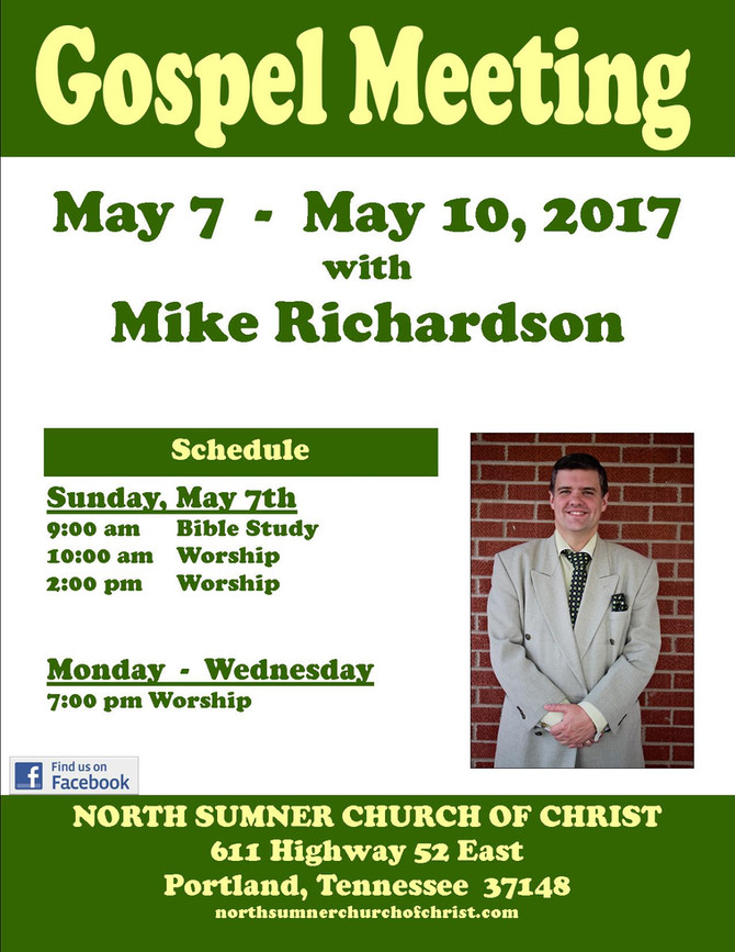 Join us for our Spring Gospel Meeting!