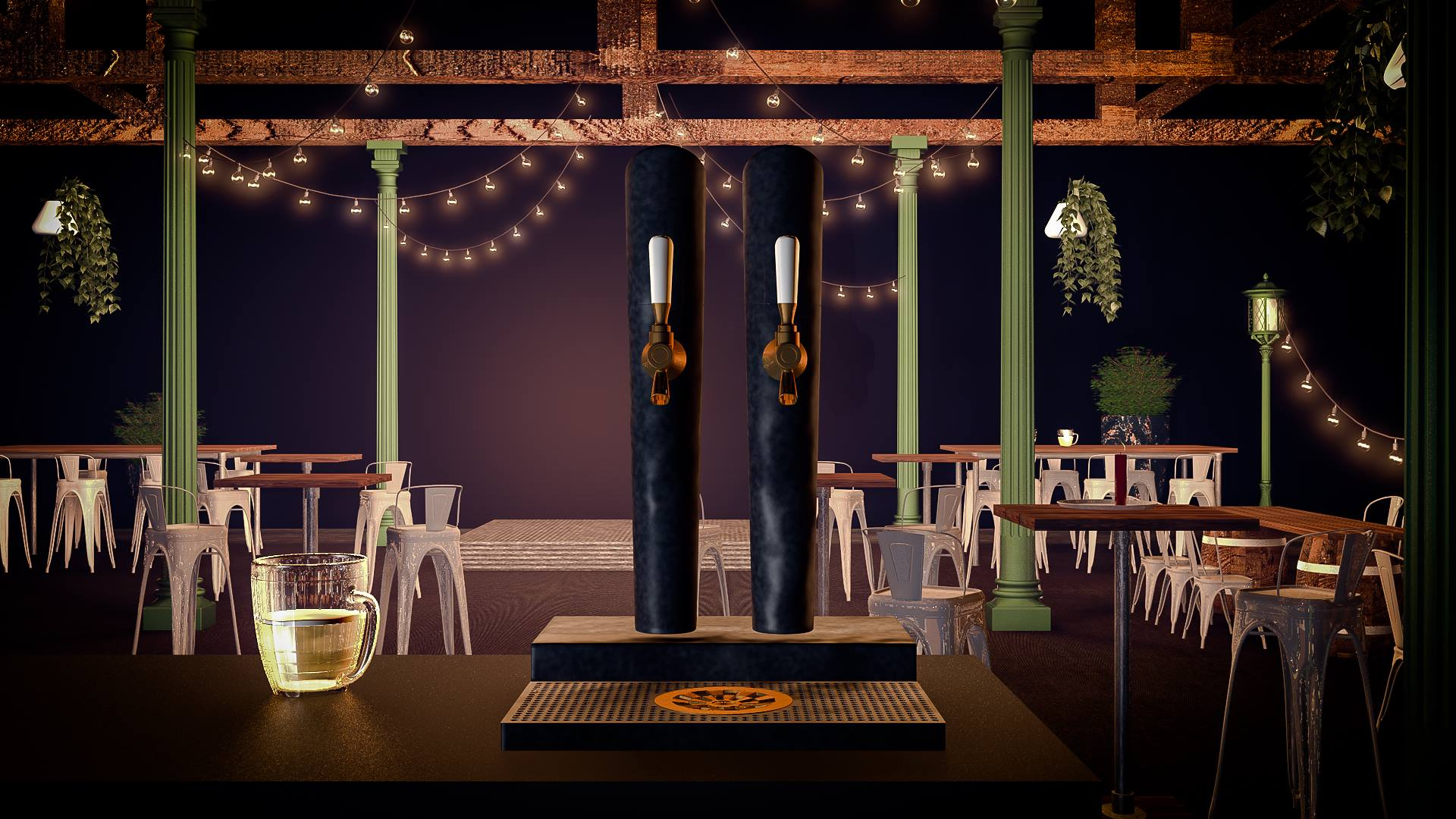 Beer Hall in Cinema 4D