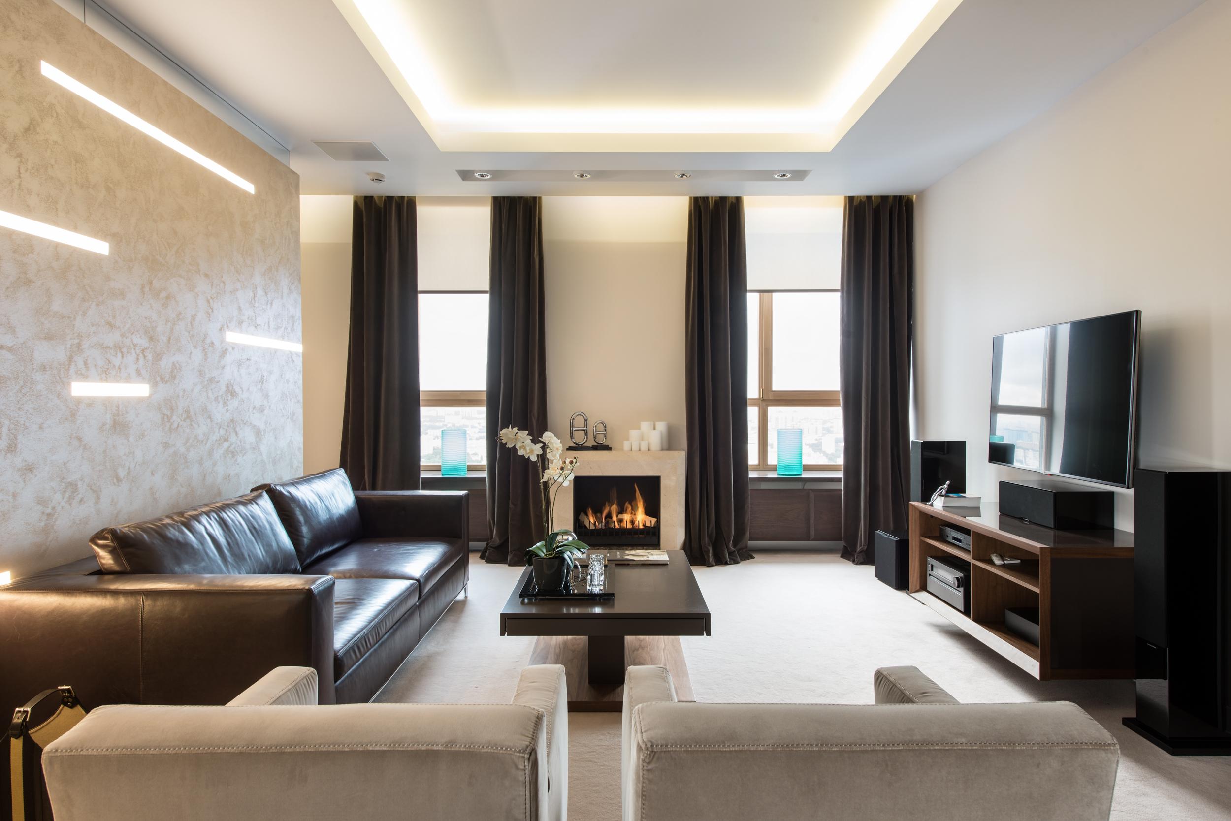 гостиная, квартира, москва, биокамин