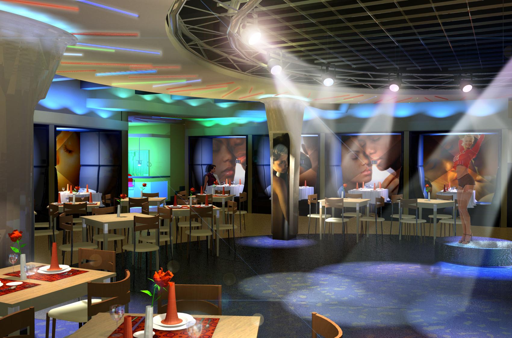 Кафе-клуб, интерьер, дизайн