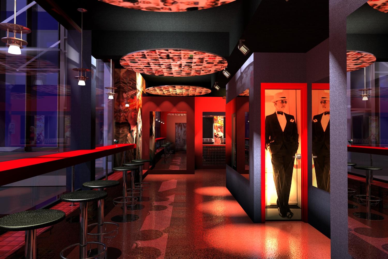 Кафе-клуб, интерьер, дизайн,гардероб