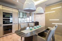 кухня, минимализм, мрамор, стол,свет