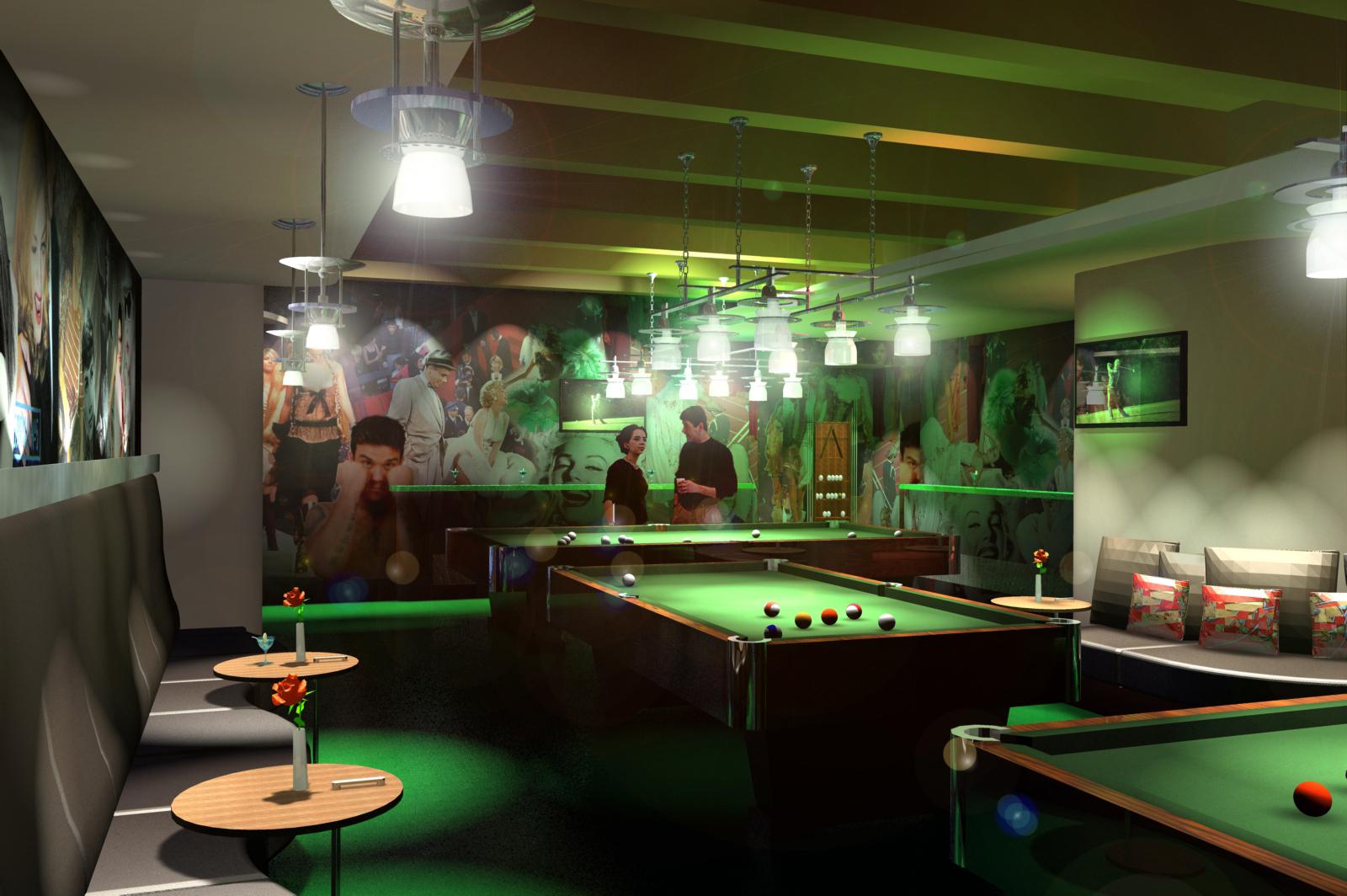Кафе-клуб, интерьер, дизайн, бильярд