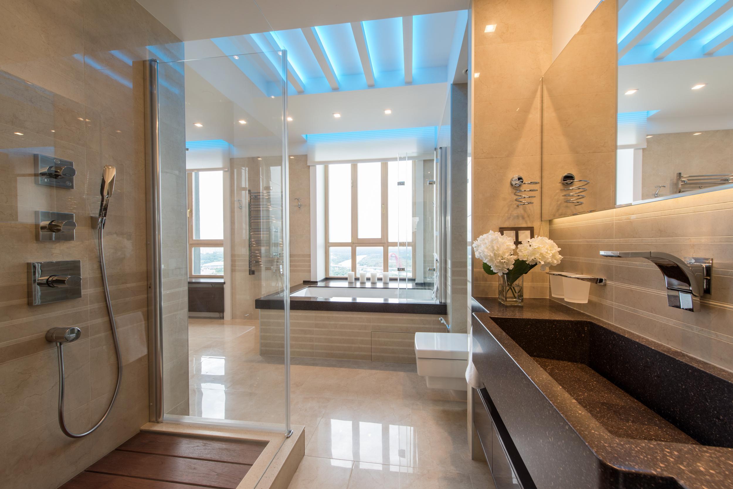 Ванная, дизайн, окно, вид, подсветка