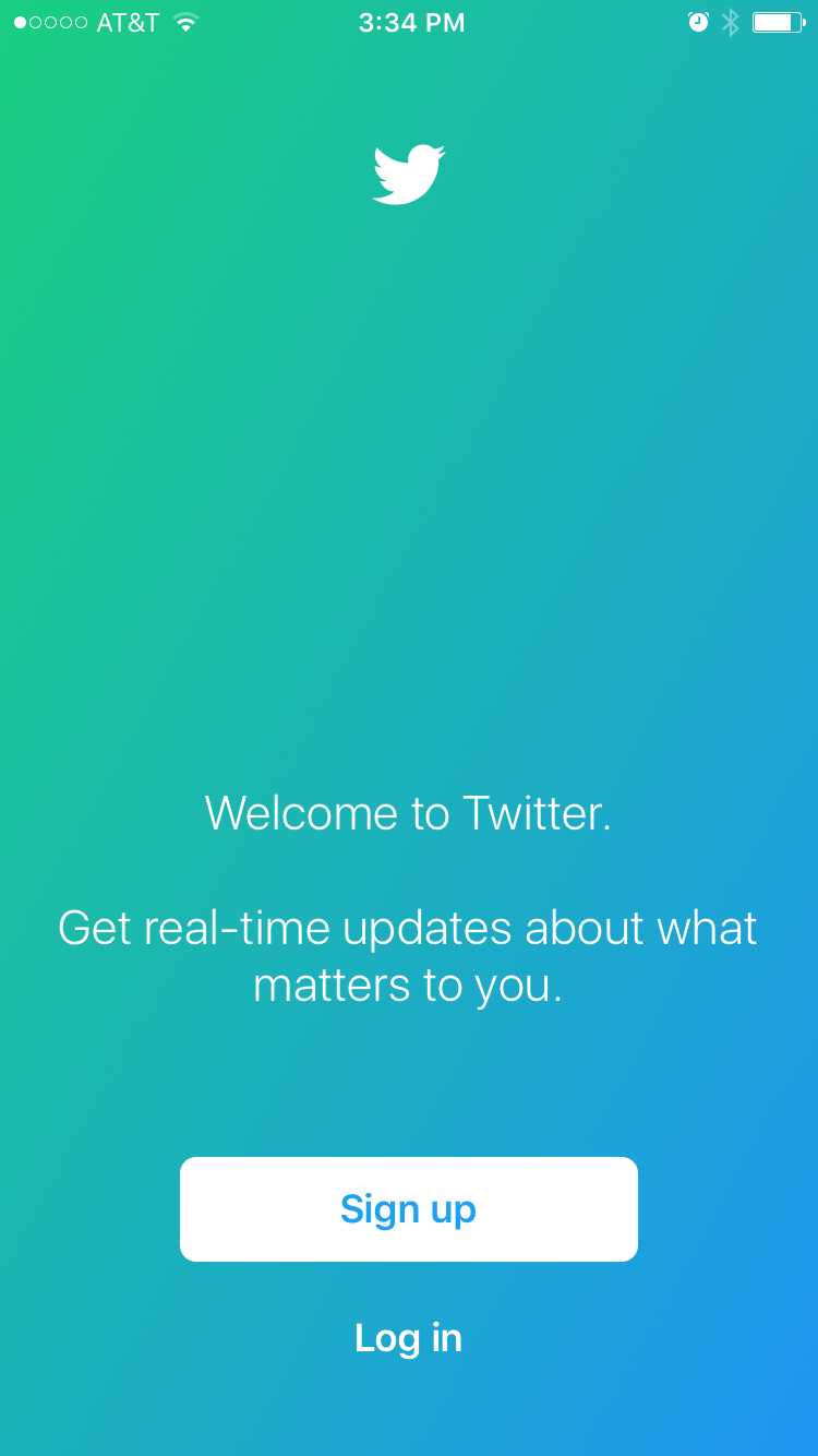 Twitter Login Page for Mobile Device