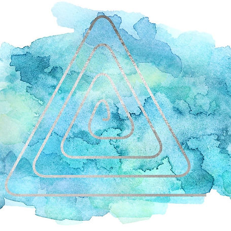 Spiral triangle on teal watercolor blob button to attend a vision workshop with life & business coach Demara Stamler of Awakened Dreams Coaching & Consulting.
