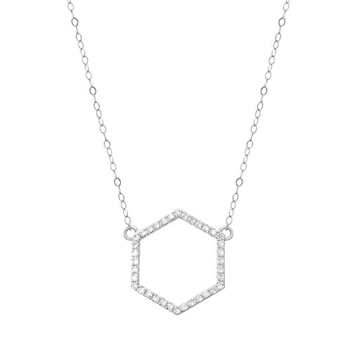 White Gold Hexagon Necklace