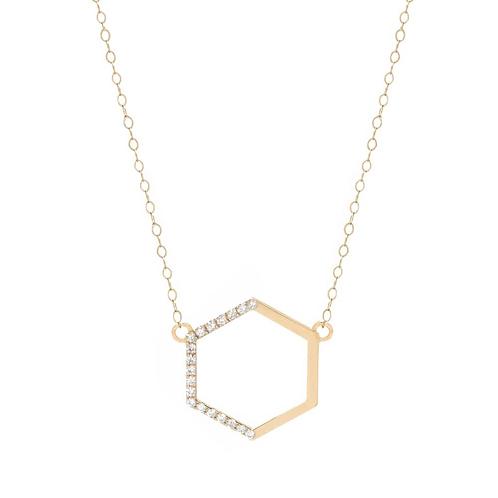 Yellow Gold Side Diamond Hexagon