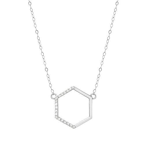 White Gold Side Diamond Hexagon
