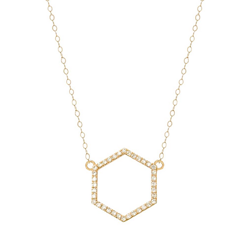 Yellow Gold Diamond Hexagon