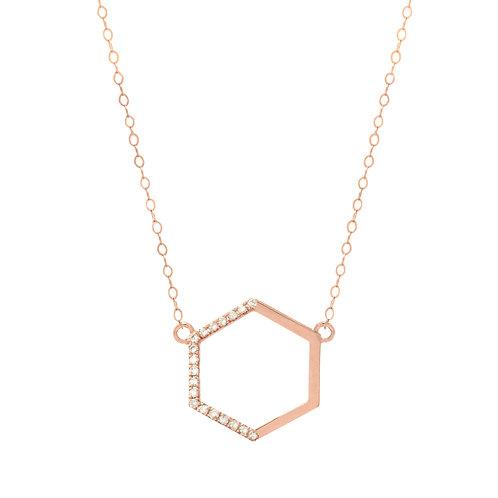 Rose Gold Side Diamond Hexagon