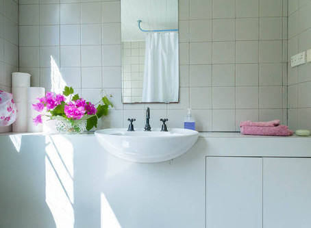 Declutter for a tiny shared bathroom