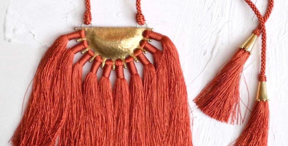 Handmade Zabra Crescent Necklace