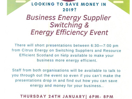 Business Energy Supplier Switching Event - 24th January 2019 - Parliament Hall, St Andrews