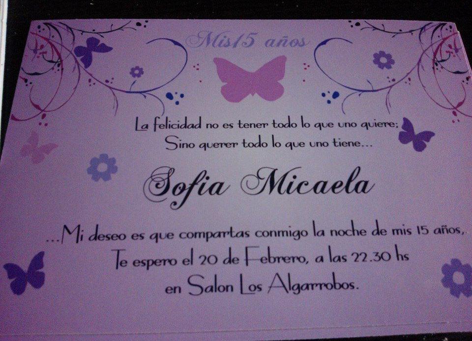 Tarjeta Invitacion 15 Años Mariposas