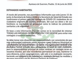 Confirman caso positivo de COVID-19 en Ayotoxco; extreman medidas sanitarias para frenar contagios