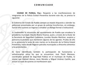 COMUNICADO SSP Puebla