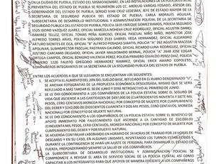 Gobierno de Puebla y policías estatales acuerdan aumento histórico del 14% al salario