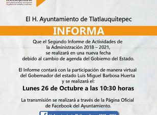 Posponen 2do Informe de Gobierno de Tlatlauquitepec