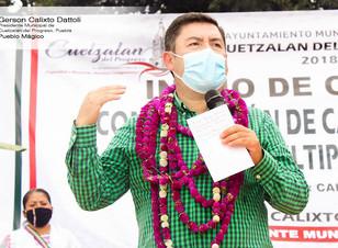 Participación responsable por el progreso de Cuetzalan, exhorta el presidente Gerson Calixto