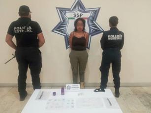 En operativos de prevención SSP detiene a presunta distribuidora de droga en Atlixco