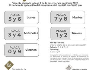 """Por Fase3 del COVID-19, Gobierno de Puebla aplioca """"Hoy no circula"""" para regular movilidad"""