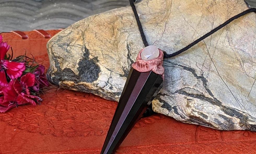Handmade stunning Obsidian amd moonstone  Pendant