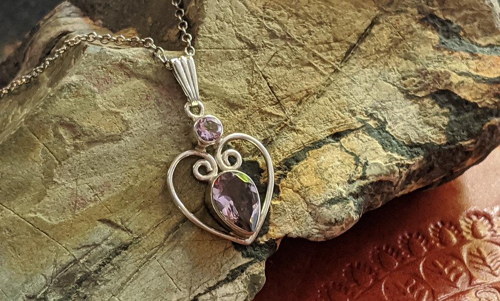 Amethyst & Silver Heart