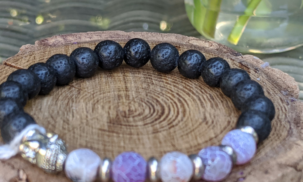 Crackle Stone and Lava Crystal Bracelet